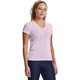 アンダーアーマー レディース シャツ トップス Under Armour Women's Bubble Tech Heather V-neck T-shirt Purple Light 01