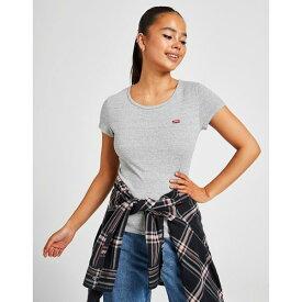 リーバイス レディース Tシャツ トップス Levis Slim T-Shirt 2 Pack grey