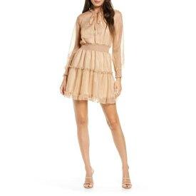 エヌ・エス・アール レディース ワンピース トップス Ruffle Trim Smocked Dress GOLD