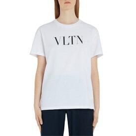 ヴァレンティノ レディース Tシャツ トップス Valentino VLTN Logo Tee White/ Black