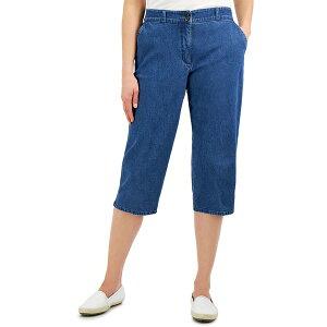 ケレンスコット レディース カジュアルパンツ ボトムス Petite Button-Hem Comfort-Waist Capri Pants, Created for Macy's Medium Wash