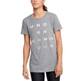 アンダーアーマー レディース Tシャツ トップス Women's Logo T-Shirt Steel Grey