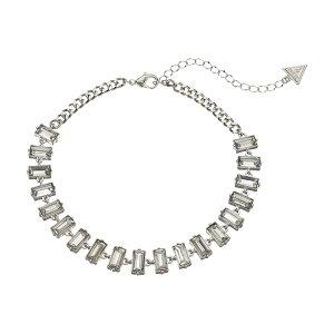 ゲス レディース ネックレス・チョーカー・ペンダントトップ アクセサリー Baguette Stone Collar Necklace Silver