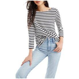 ジェイクルー レディース シャツ トップス Striped Boatneck T-Shirt Ivory/Navy