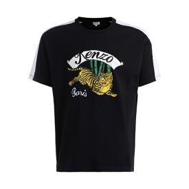ケンゾー メンズ カットソー トップス Kenzo Jumping Tiger Black T-shirt With Contrast Print And Embroidery NERO
