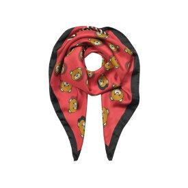 モスキーノ レディース マフラー・ストール・スカーフ アクセサリー Moschino Teddy Bear Printed Silk Square Scarf Red