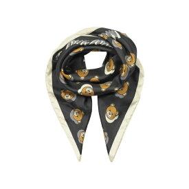 モスキーノ レディース マフラー・ストール・スカーフ アクセサリー Moschino Teddy Bear Printed Silk Square Scarf Black