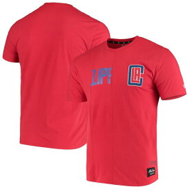 ニューエラ メンズ Tシャツ トップス LA Clippers New Era Wordmark Logo Cut & Sew Applique Brushed T-Shirt Red