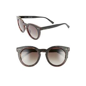 レベッカミンコフ レディース サングラス&アイウェア アクセサリー Rebecca Minkoff Patti1 49mm Round Sunglasses Havana/ Black