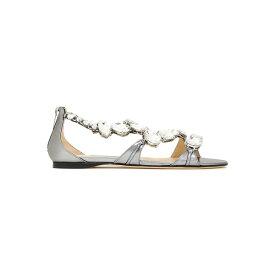 ジミーチュウ レディース サンダル シューズ Karima crystal-embellished metallic leather sandals Gray