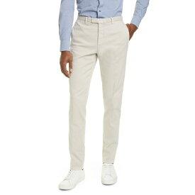 ボリオリ メンズ カジュアルパンツ ボトムス Slim Fit Stretch Cotton Hopsack Trousers STONE
