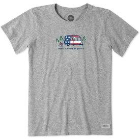 ライフイズグッド レディース シャツ トップス Life is Good Women's Vintage Americana Camper Crusher T-Shirt HeatherGrey