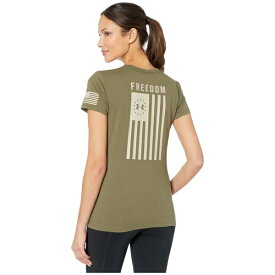 アンダーアーマー レディース シャツ トップス Freedom Flag T-Shirt Marine OD Green/Desert Sand
