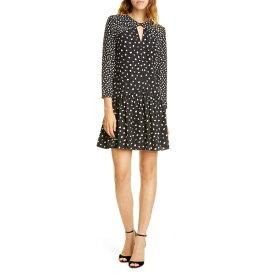レベッカテイラー レディース ワンピース トップス Rebecca Taylor Twist Detail Long Sleeve Silk Blend Dress Black