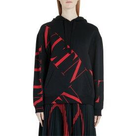 ヴァレンティノ レディース パーカー・スウェットシャツ アウター Valentino VLTN Logo Hoodie 0nr-Black/ Red