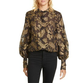 エキプモン レディース カットソー トップス Equipment Boleyn Metallic Jacquard Silk Blouse Black Gold