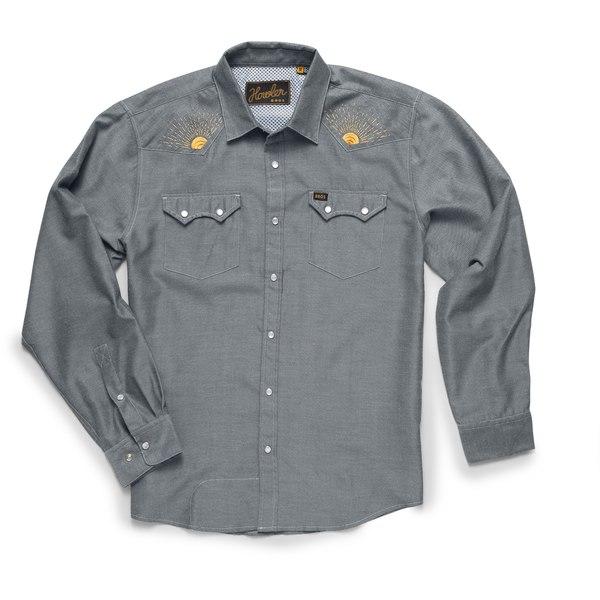 ハウラーブラザーズ メンズ シャツ トップス Crosscut Deluxe Snapshirt - Men's Charcoal Oxford/Rising Sun