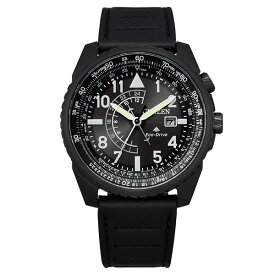 シチズン レディース 腕時計 アクセサリー Eco-Drive Men's Promaster Black Leather Strap Watch 42mm Black
