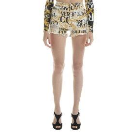 ベルサーチ レディース デニムパンツ ボトムス Versace Jeans Couture Logo Baroque Print Shorts -
