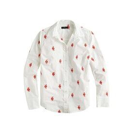 ジェイクルー レディース シャツ トップス Perfect Shirt with Embroidered Knots White