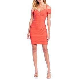 ゲス レディース ワンピース トップス Bandage Knit Cold Shoulder Sheath Dress Coral