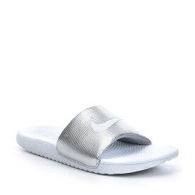 ナイキ レディース サンダル シューズ Women's Kawa Soft Synthetic Banded Lightweight Slide-On Sandals White/Metallic Silver/White