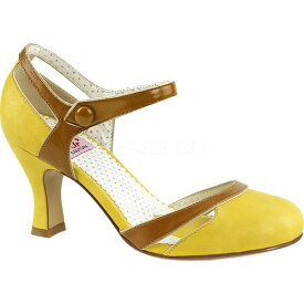 ピンアップ レディース ヒール シューズ Flapper 27 Quarter-Strap d'Orsay Pump Yellow-Tan Faux Leather