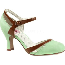 ピンアップ レディース ヒール シューズ Flapper 27 Quarter-Strap d'Orsay Pump Mint-Brown Faux Leather