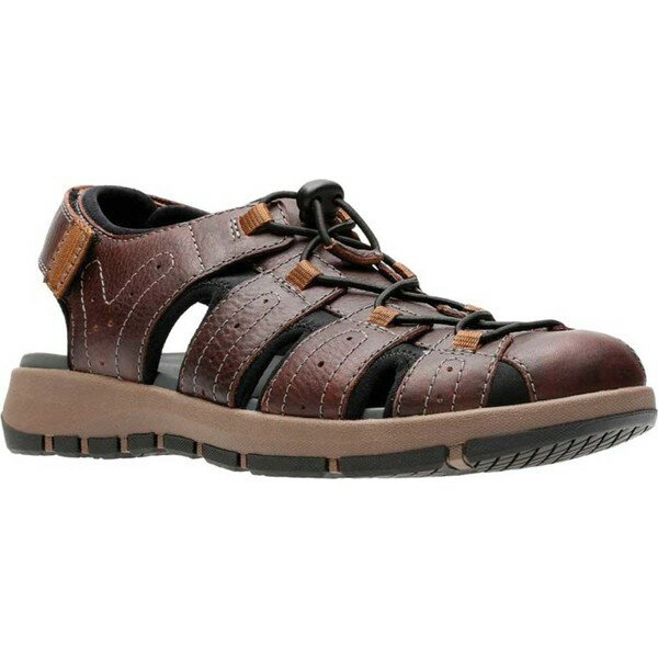 クラークス メンズ サンダル シューズ Brixby Cove Fisherman Sandal Dark Brown Full Grain Leather