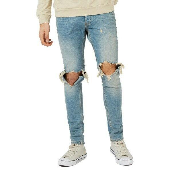 【当日出荷】トップマン デニムパンツ メンズ Topman Ripped Stretch Skinny Jeans Light【サイズ 30x30】