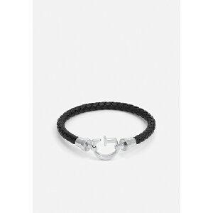ゲス メンズ ブレスレット・バングル・アンクレット アクセサリー ROUND UNISEX - Bracelet - black/antique silver-coloured shiny