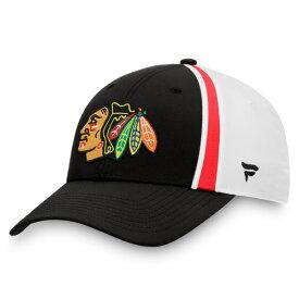 ファナティクス メンズ 帽子 アクセサリー Chicago Blackhawks Fanatics Branded Prep Squad Flex Hat Black/White