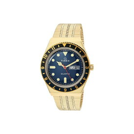 タイメックス メンズ 腕時計 アクセサリー 38 mm Q Timex Black/Blue 3-H Gold Case Blue Dial Gold Bracelet Gold/Blue/Gold