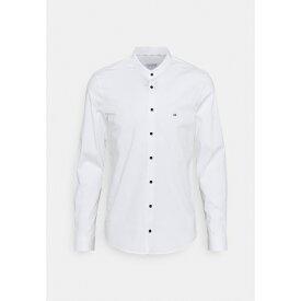 カルバン クライン テイラード メンズ シャツ トップス LOGO STRETCH SLIM - Formal shirt - white
