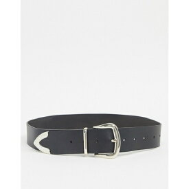 エイソス レディース ベルト アクセサリー ASOS DESIGN leather tipped jeans belt in black with shiny silver metal Black