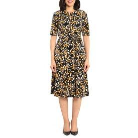 ロンドンタイムス レディース ワンピース トップス Printed Fit & Flare Dress BLK/GOLD