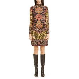 エトロ レディース ワンピース トップス Etro Animal Print Long Sleeve Jersey Turtleneck Dress Multi