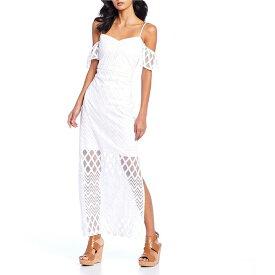 ゲス レディース ワンピース トップス Off-the-Shoulder Chevron Lace Maxi Dress White