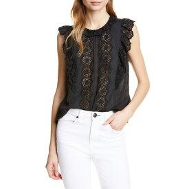 レベッカテイラー レディース カットソー トップス La Vie Rebecca Taylor Lace Detail Sleeveless Cotton Blouse Black