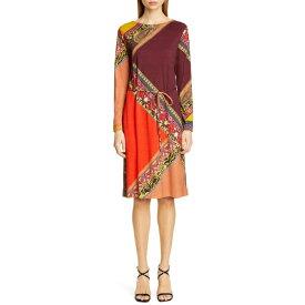 エトロ レディース ワンピース トップス Etro Colorblock Print Long Sleeve Wool Dress Wine