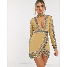 エイソス レディース ワンピース トップス ASOS DESIGN mini dress with plunge neck with chain embelishment Gold