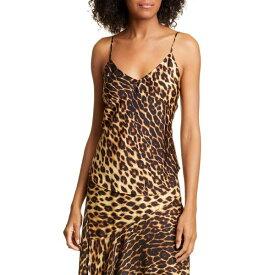 エーエルシー レディース カットソー トップス Nash Leopard Print Stretch Silk Camisole Brown Multi