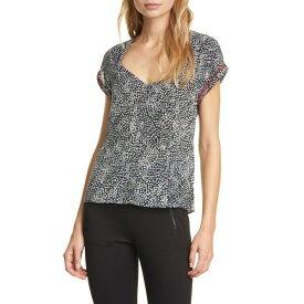 ラグアンドボーン レディース カットソー トップス Danise Leopard Print Silk Top Black Multi Floral