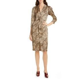 レベッカテイラー レディース ワンピース トップス Rebecca Taylor Animal Print Hammered Silk Shirtdress Oat Combo