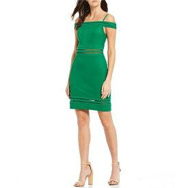 ゲス レディース ワンピース トップス Off-The-Shoulder Ottoman Mesh Cut Out Sheath Dress Green