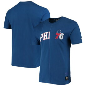 ニューエラ メンズ Tシャツ トップス Philadelphia 76ers New Era Wordmark Logo Cut & Sew Applique Brushed T-Shirt Royal