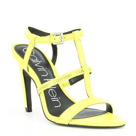 カルバンクライン レディース サンダル シューズ Gemima Neon Leather Logo Sandals Yellow Fluo
