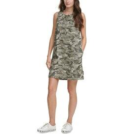ダナキャランニューヨーク レディース ワンピース トップス Juniors' Camo-Print Tie-Neck Dress Rosemary Ivory Multi