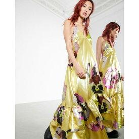 エイソス レディース ワンピース トップス ASOS EDITION trapeze maxi dress with tiered hem in gold metallic floral print Gold