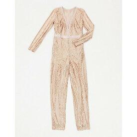 ゴッドディバ レディース ワンピース トップス Goddiva embellished plunge jumpsuit in gold Gold